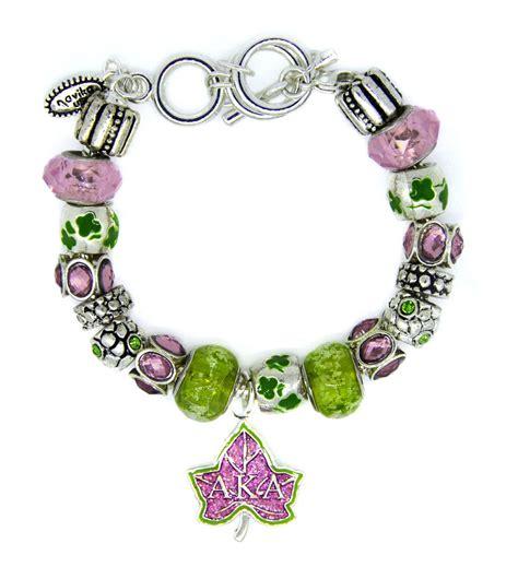 pink green alpha kappa alpha mantra bead bracelet
