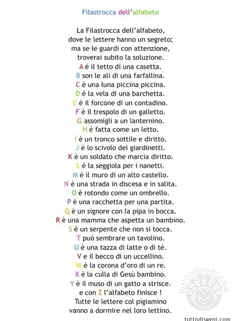 filastrocca lettere alfabeto filastrocca dell alfabeto da stare tuttodisegni