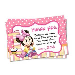 printable pink minnie mouse thank you card mary party supply cards on artfire