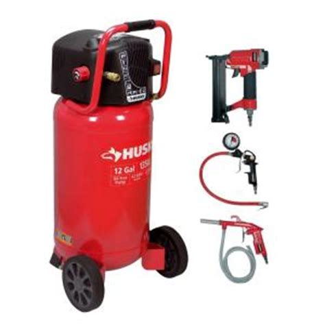 husky 12 gal portable electric air compressor and 2 in 1 brad nailer stapler combo pack