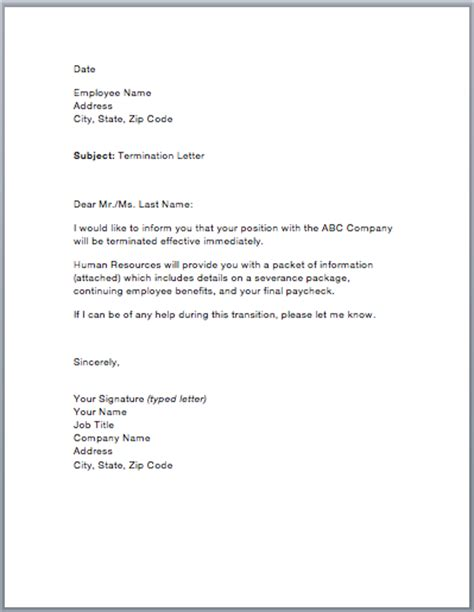 Sle Of A Termination Letter To An Employee by Sle Termination Letter Smart Letters