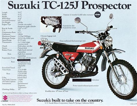 1972 Suzuki Tc 125 Suzuki Ts125 And Tc125 Brochure Scans