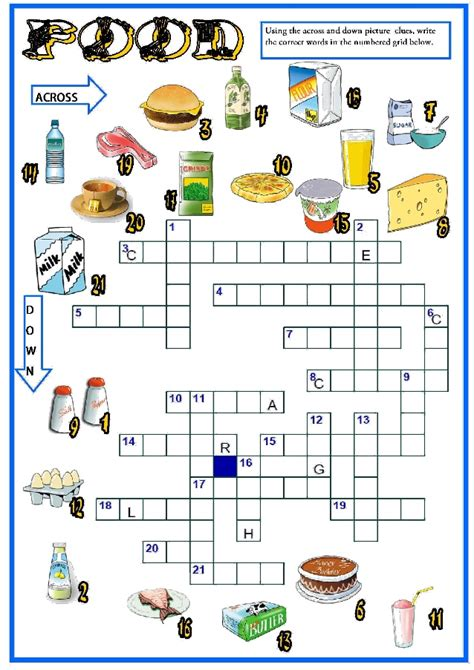 easy crossword puzzles about food food crossword 5to b 225 sico