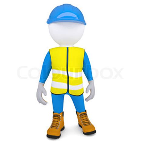 safety man clip art 3d white man in overalls isolated render on a white