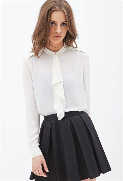 Forever Blouse forever 21 ruffled chiffon blouse in lyst