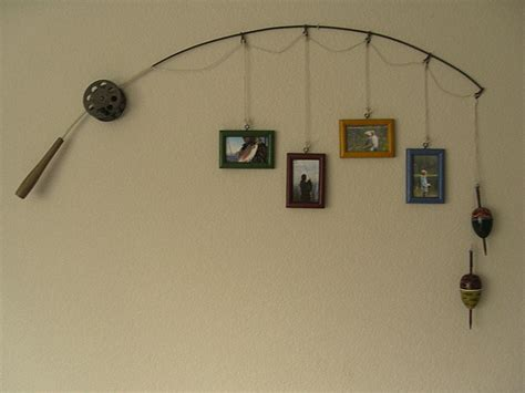 Beach Themed Kitchen Canisters fishing pole picture frame wall art for your man cave