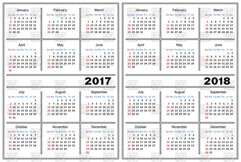 Calendar 2017 And 2018 Vector Calendar Template 2017 And 2018 Vector Clipart Image