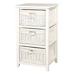 White Wicker Storage Drawers by White Wicker 3 Basket Storage Chest Of Drawers