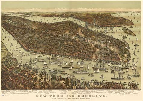 new york from the birdseye maps