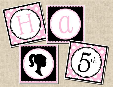 free barbie printable birthday banner new to the shop vintage barbie inspired party collection