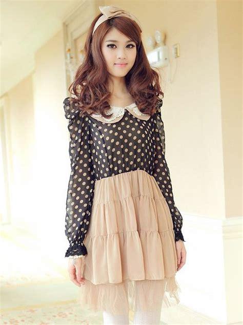 2pcs Japanese Style Dress japanese style doll collar dots sleeve dress