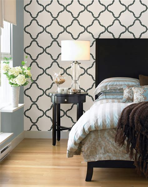 black and white feature wallpaper quick bedroom makeover re style your bed brewster home