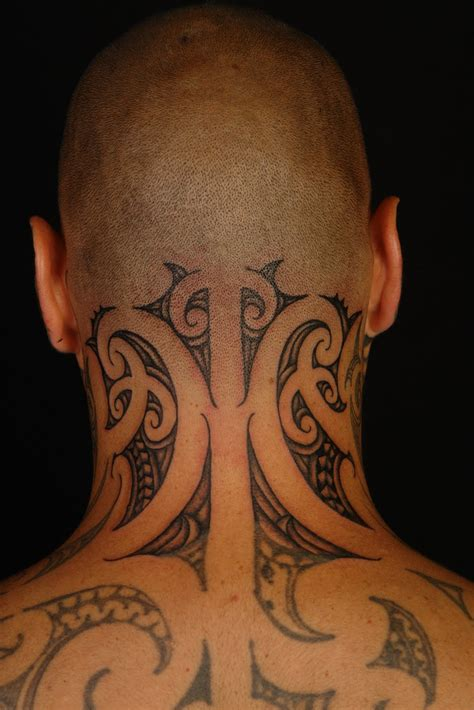 tribal neck tattoos designs maori polynesian tiki taane neck
