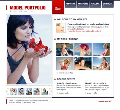 free model portfolio template free templates online