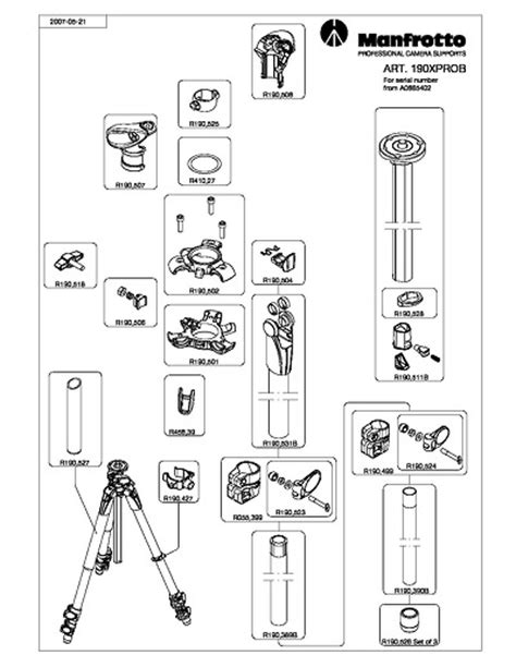 tripod parts diagram manfrotto 190xprob spare replacement parts