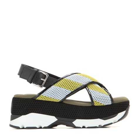 marni mesh leather and rubber platform sandals in green