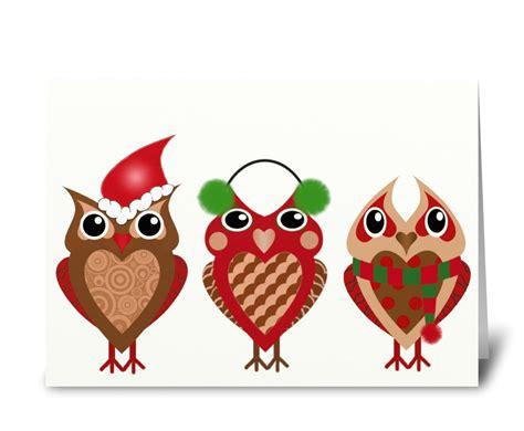 holiday owls send  greeting card designed  sugar  spice card gnome