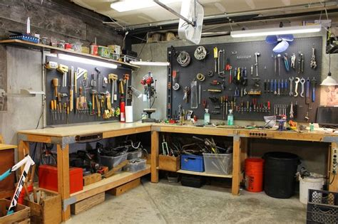 tool bench organization l shaped garage workbench with pegboard tool storage the shingled house shop stuff