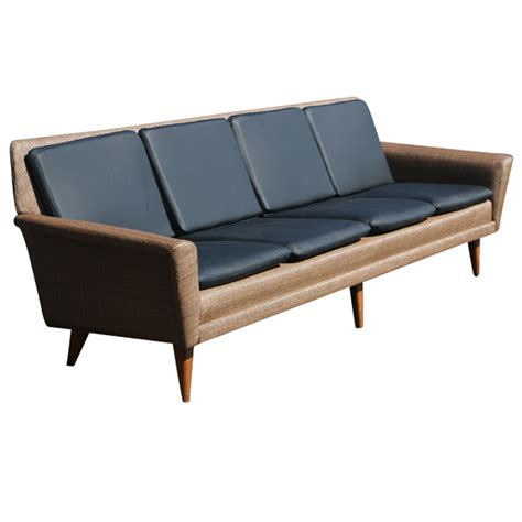 8ft Restored Danish Modern Dux Leather Sofa Couch On Sale