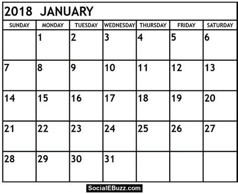 january 2018 calendar with holidays calendar monthly printable
