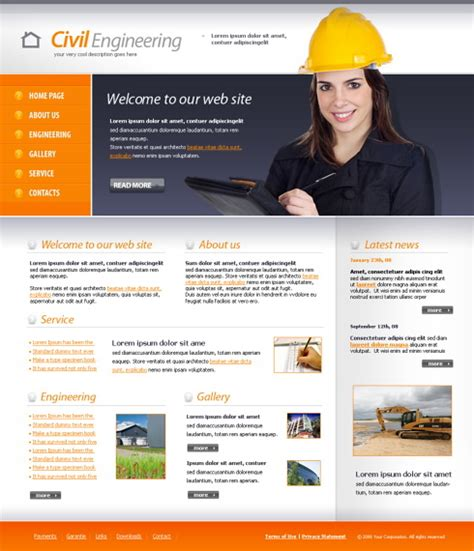 free templates for engineering website civil engineering website template 4342 construction