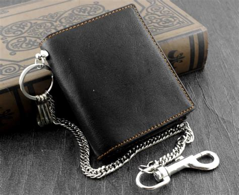 mens biker leather money clip wallet with anti theft chain
