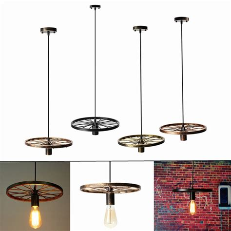 Diy Pendant Light Fixture Vintage Industrial Loft Retro Diy Iron Wheel Ceiling Light Pendant L Fixture Alex Nld