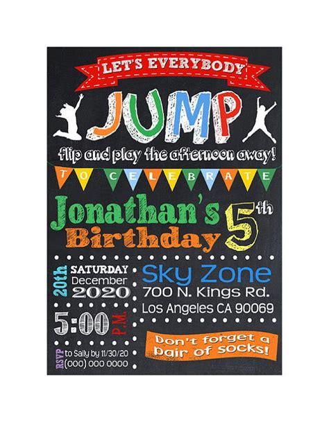 printable sky zone birthday invitations troline birthday party invitation jump invite by