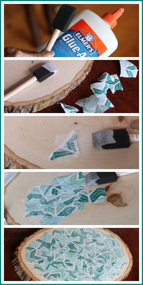How To Decoupage Paper On Wood - decoupage wood slice sugar bee crafts