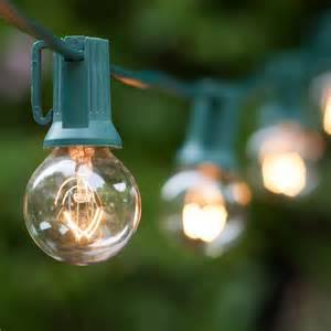 Patio Light Bulbs Patio Lights Commercial Clear Globe String Lights 50 G30 E12 Bulbs Green Wire