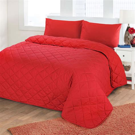 Soft Quilts Bedding Luxury Soft Plain Dyed Polycotton Quilted Bedspread Bed