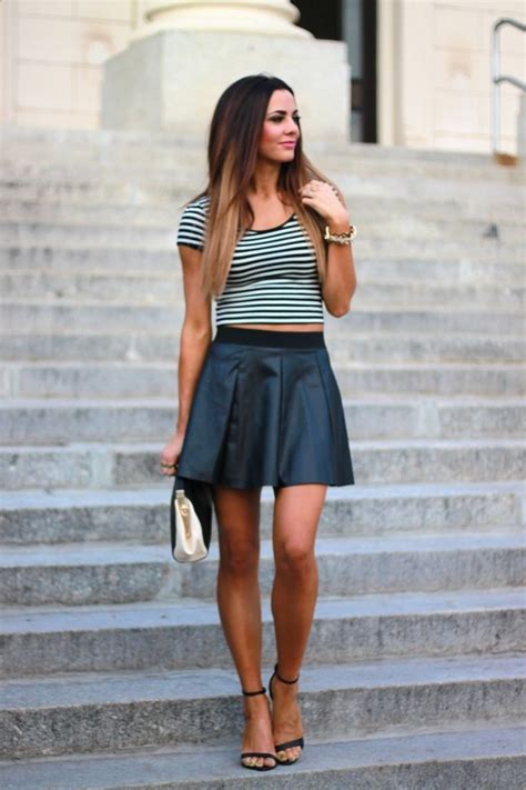 black a line skirt black white striped fitted shirt