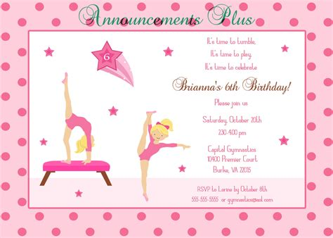Cute Halloween Invitation Wording Gymnastics Birthday Invitation Templates