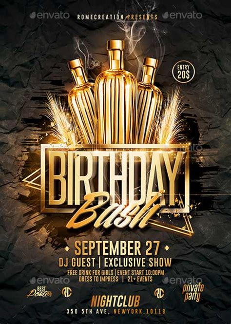 Download The Gold Birthday Bash Psd Flyer Template For Photoshop Birthday Flyer Template