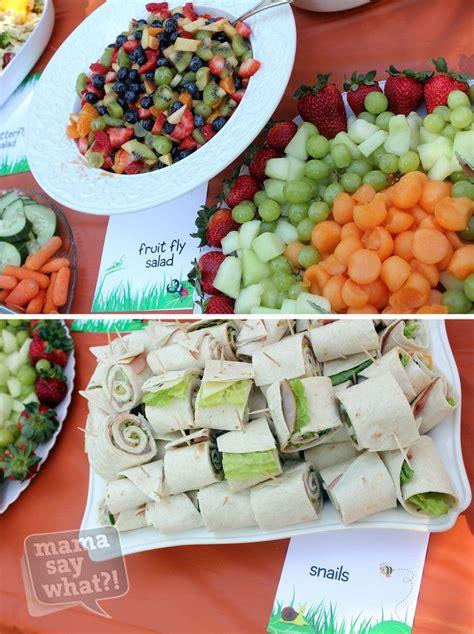 A Wedding On Ladybug Farm bug inspired food fruit fly salad and snails