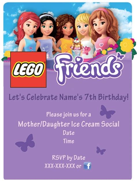 140 Best Images About Lego Friends Birthday Party On Pinterest Goody Bags Lego Friends Cake Friends Themed Invitation Template