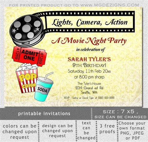 7 best images of movie night party invitation printable