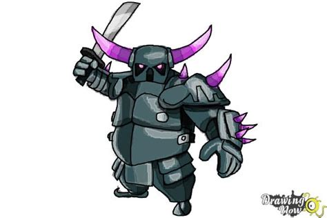 Coc Pekka Level6 how to draw p e k k a from clash of clans drawingnow