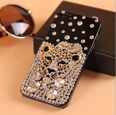 luxury bling bling gold diamonds leopard rhinestone phone cover for iphone 6 6 plus