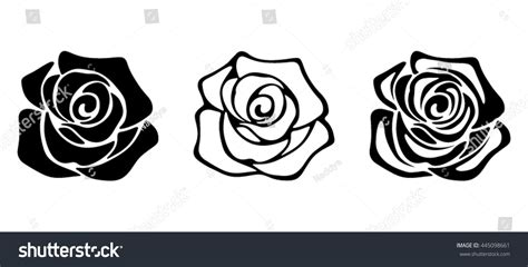 set three vector black silhouettes rose stock vector