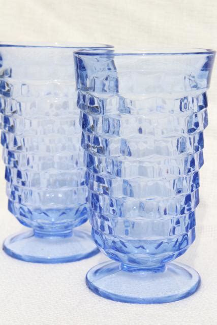 vintage whitehall cube pattern footed tumblers pale sapphire blue glass drinking glasses