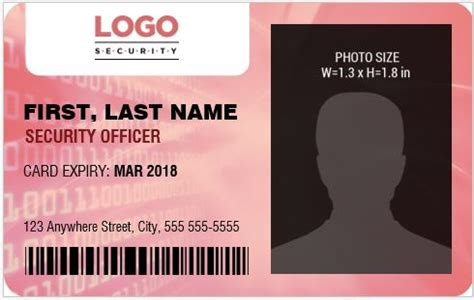 security guard id card template security guard officer photo id badges for ms word word