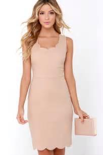 cute beige dress scalloped dress cocktail dress 47 00