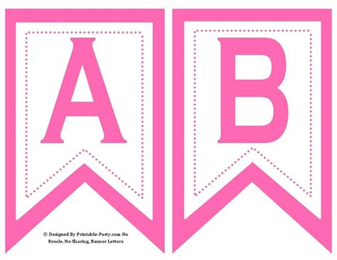printable letters in pink small swallowtail printable banner letters a z numbers 0