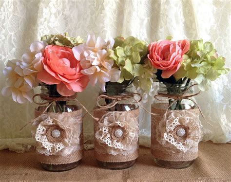 3 rustic burlap and lace covered mason jar vases wedding bridal shower baby shower party