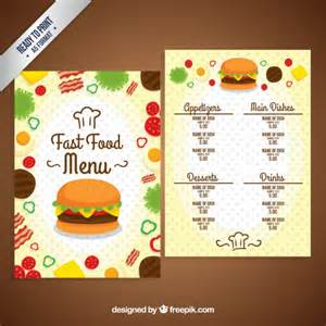 Food Menu Template Free by Fast Food Menu Template Vector Free