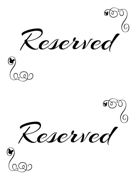 reserved cards for tables templates free printable reserved seating signs for your wedding
