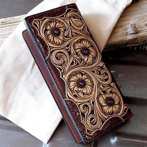 leather tooling wallet pattern leather craft pattern long wallet pattern sheridan 10