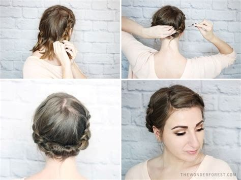 diy updo hairstyles for short hair picture of quick diy rolled braid updo for short hair 3