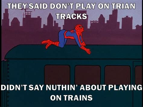 Spiderman Table Meme - i m on train 60s spider man know your meme